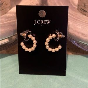 J. Crew Pearl hoop earrings.
